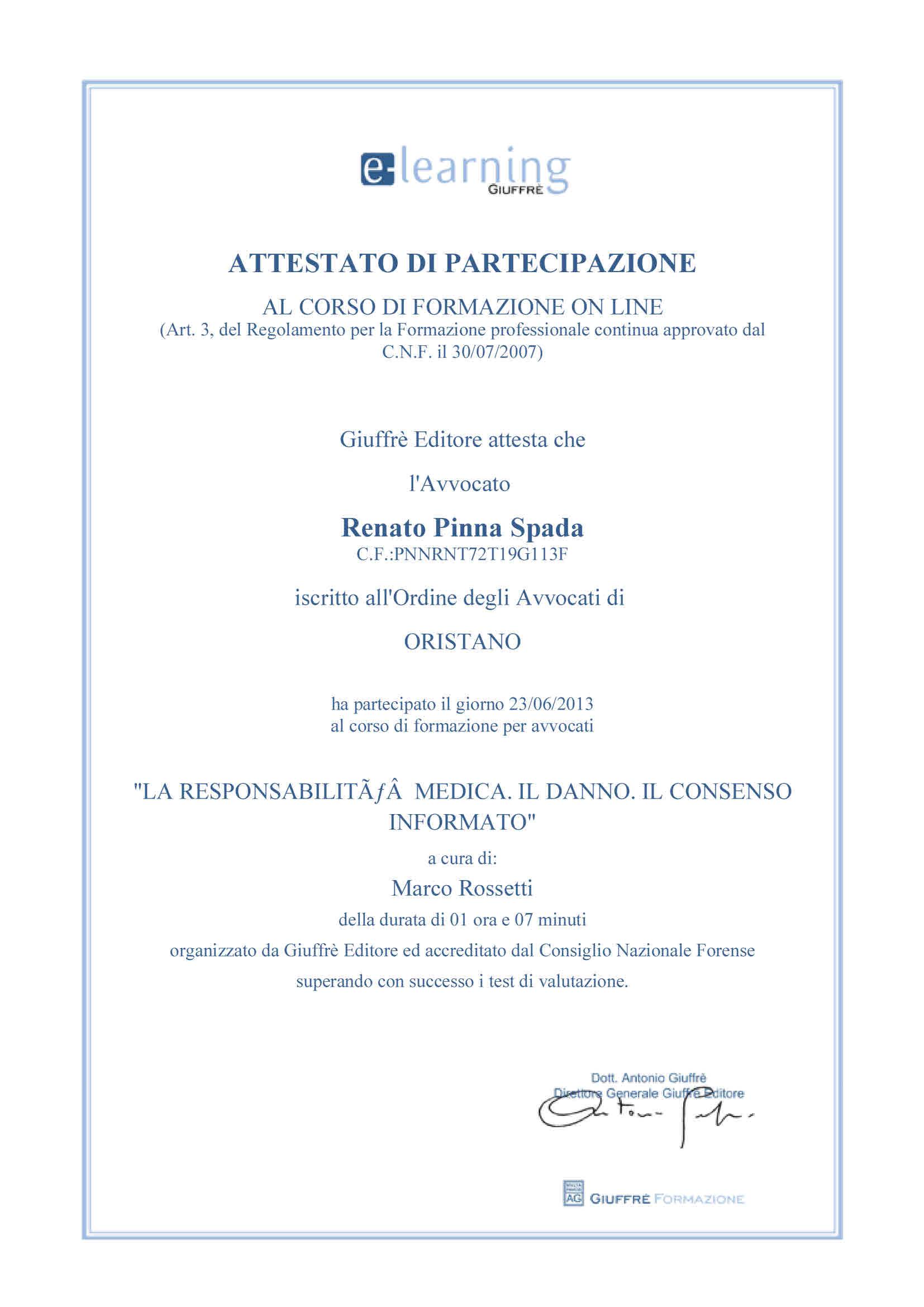 Patrocinante Legale Pinna Spada CassazioneStudio In AvvRenato fvb7Y6gy